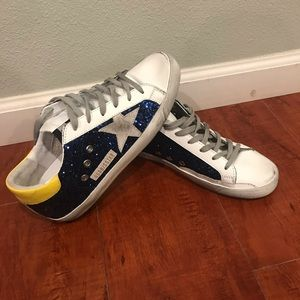 Golden Goose Blue Glitter and yellow tab sneakers
